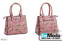 Стильная  женская каркасная сумка L&L Beige из экокожи с ярким цветочным принтом бежевая
