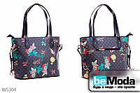 Привлекательная женская сумка L&L Black оригинальной формы из экокожи с принтом с декором по бокам  черная