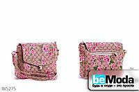 Стильный клатч женский L&L Beige из экокожи с цветочным принтом и портфельной застежкой бежевый