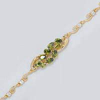Браслет золотистая цепочка с зелеными камнями