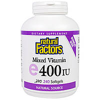 Natural Factors, Смешанный витамин Е 240 гелевых капсул