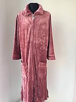"""Удлиненный велюровый   халат  тм """"Nusa""""  на замке"""