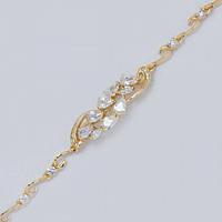 Браслет золотистая цепочка с белыми камнями