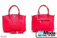 Стильная женская каркасная сумка Little Pegion RED из оригинальной экокожи с металлическим декором красная