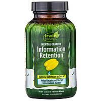 """Irwin Naturals, """"Ясность мысли и память"""", пищевая добавка для стимуляции памяти и улучшения работы мозга, 60 мягких желатиновых капсул с жидкостью"""