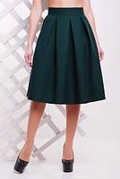 Трендовая юбка № 1722 темно-зеленый р. 42-50