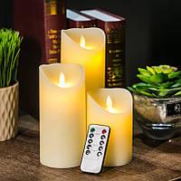 Электронные свечи с имитацией пламени и пультом управления набор, фото 1