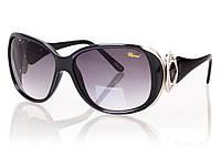 Женские солнцезащитные очки CHOPARD черны градиент, оправа глянцевый черный/серебро/инкрустация камнями