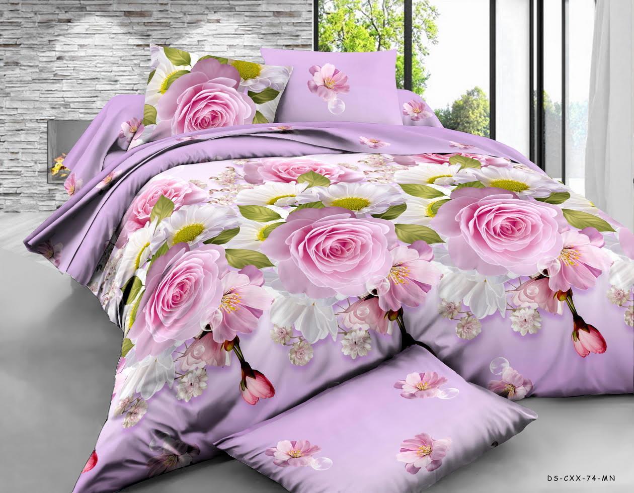 Двуспальный комплект 180х220 с евро простыней 240х220 Букет Цветов