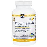"""Nordic Naturals, """"ПроОмега-D"""", пищевая добавка с омега-3 и витамином D3, с лимонным вкусом, 1000 мг, 120 мягких желатиновых капсул с жидкостью"""