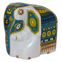Фарфоровый слон Батик зеленый  арт 10-008 50г