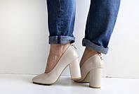 Туфли беж удобный каблук 40 р, фото 1