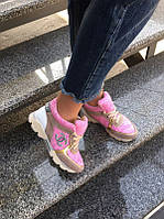 Сникерсы женские Chanel кожа, замша розовые NK0027