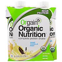 Orgain, Органический питательный полный белковый коктейль, сливочный шоколадный фадж, 4 шт. в упаковке, 11 жидк. унц. (330 мл)