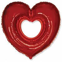 """Фольгированный шар Сердце в Сердце (бублик) КРАСНОЕ 35"""" 88см Фигура Большая"""