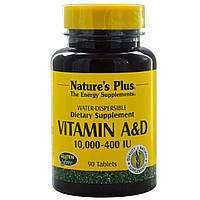 Nature's Plus, Витамины A и D, 10000 и 400 МЕ, 90 таблеток