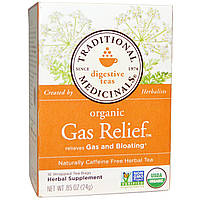 Traditional Medicinals, Органический чай от вздутия живота, без кофеина, 16 пакетиков, 85 унций (24г)