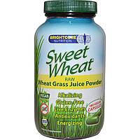Sweet Wheat, Сырой порошкообразный концентрат сока ростков пшеницы, 180 веганских капсул