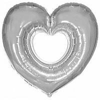 """Фольгированный шар Сердце в Сердце (бублик) СЕРЕБРО 35"""" 88см Фигура Большая"""