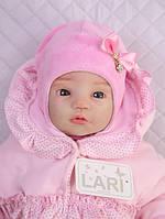 """Велюровая шапочка для девочки 0-1 мес. """"Маленькое чудо"""", розовая"""