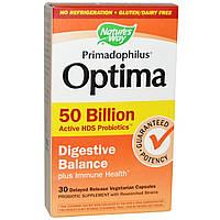 Nature's Way, Примадофилус Оптима, для пищеварительного баланса, 50 миллиардов бактерий, 30 капсул на растительной основе с отсроченным высвобождением