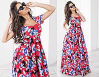 Платье в пол, цветочный принт