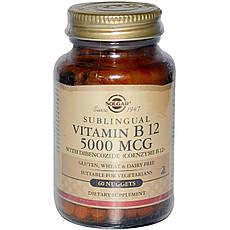 Solgar, Сублінгвальних вітамін B12, 5000 мкг, 60 таблеток