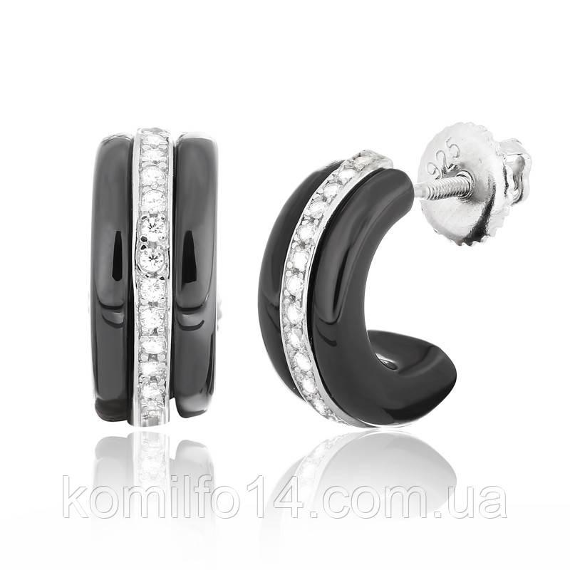 Серебряные серьги с черной керамикой