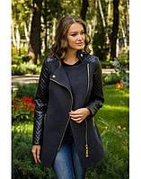 Пальто с кожаными рукавами (разные цвета)