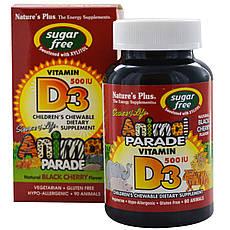 Nature's Plus, Source of Life, Animal Parade, вітамін D3, без цукру, смак натуральної черемхи, 500 МО, 90 тварин
