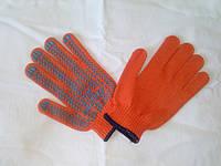 Перчатки рабочие с точкой ПВХ арт.622 оранжевые