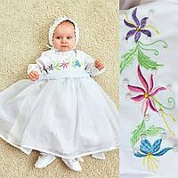 """Платье на крещения девочки """"Цветные лилии"""" с шифоном, фото 1"""