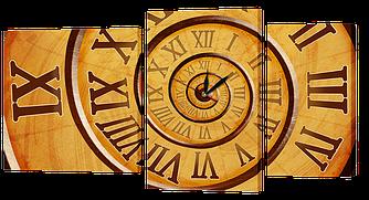 Часы-Модульная картина 444 спираль времени (114x60 см)