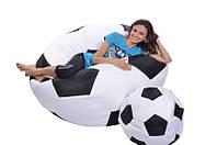 Кресло-мяч 130 см из кожзама Зевс черно-белое, кресло-мешок мяч
