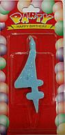 Свеча для торта цифра 4 цветная с блеском