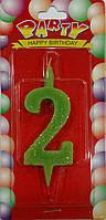 Свеча для торта цифра 2 цветная с блеском
