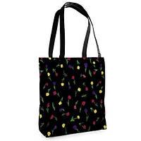 Большая черная сумка Нежность с принтом Тюльпаны
