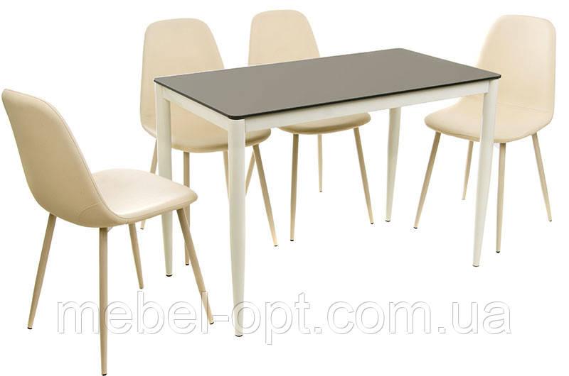 стол обеденный прямоугольный т 300 11 металлический каркас молочного цвета каленое стекло шоколад 110х60х75