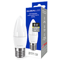 Светодиодная лампа LED Global C37 5W теплый свет E27 1-GBL-131