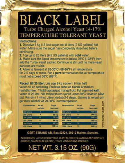 """Prestige Дрожжи Турбо Black Label - Магазин виноделия, дистилляции и пивоварения """"Старовар"""" в Польше"""