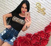 """Шорты женские джинсовые стильные """"Клепки"""""""