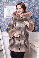 Короткое зимнее пальто батал с мехом на капюшоне и рукавах