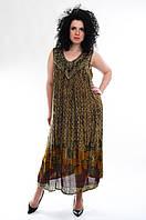 Платье - разлетайка коричневое, на 52-62 р-ры