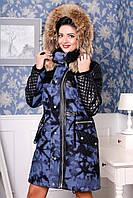 Зимнее пальто женское, рукава из кожи, капюшон, мех (2 расцветки)