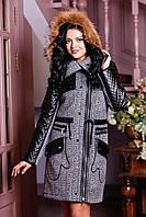 Зимнее пальто женское, рукава из кожи, капюшон, мех (3 расцветки)