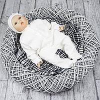 """Нарядный человечек выписка для новорожденного """"LARI"""" р.56 молочный"""