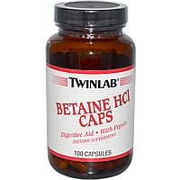 Twinlab, Бетаин HCL, 100 капсул