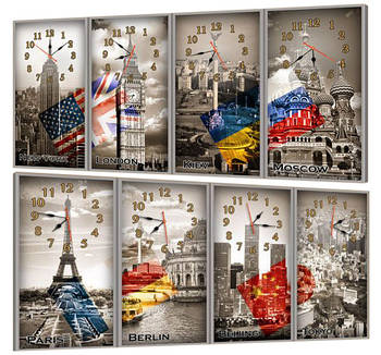 Часы-модульная картина 218 Мировое время (49x95 см)