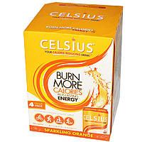 Celsius, Ваш сокращающий калории напиток!, Игристый апельсин, 4 пакетика, 12 жидких унций каждый