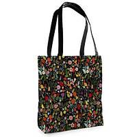 Большая черная сумка Нежность с принтом Цветник